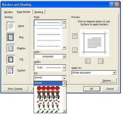 Art Borders dialog box in Microsoft Word